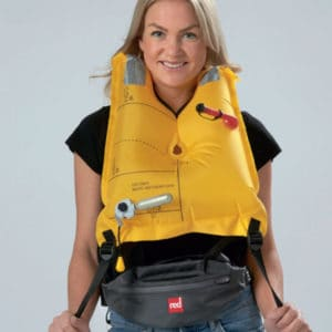 red original airbelt pfd donning inflated x