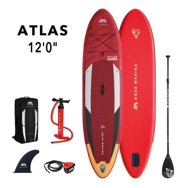 "Length: 12'0'' (366cm) Width: 34"" (86cm) Thickness: 6.0"" (15.0 cm) Volume: 390L Recommended rider weight: up to 180kg/396lbs. Board Weight: 24.0lbs. (10.9kg) Lightweight drop stitch technology Full deck and base quality printing and rail design for superior optics Removable slide-in Centre Fin Integrated cargo D-ring with bungee cord to attach luggage Durable rubber handle Honeycomb grooving footpad for ultimate grip and comfort 3-piece adjustable aluminium paddle Aqua Marina double action pump for fast and easy Inflation"