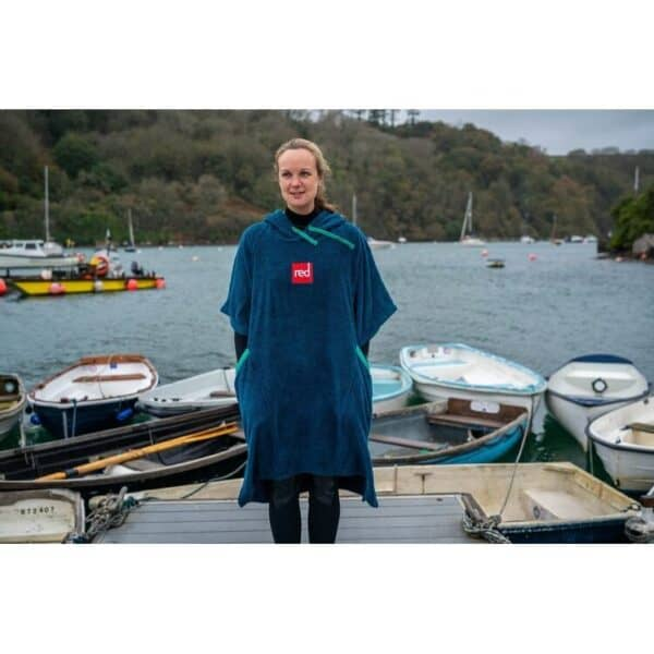 Red Paddle Toweling Changing Robe Navy